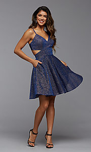 Image of short fit-and-flare homecoming dress with pockets. Style: PG-BHC-21-22 Detail Image 1