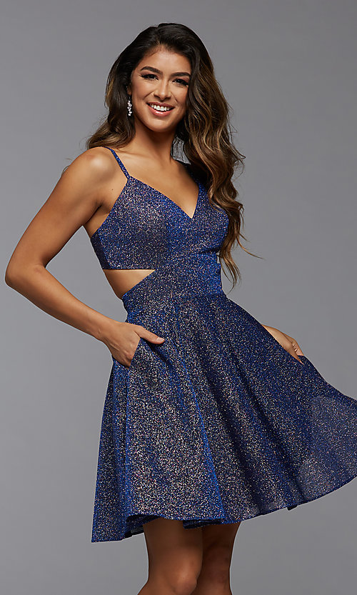 Image of short fit-and-flare homecoming dress with pockets. Style: PG-BHC-21-22 Front Image