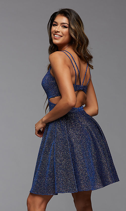 Image of short fit-and-flare homecoming dress with pockets. Style: PG-BHC-21-22 Back Image