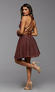 Image of strappy open-back short glitter homecoming dress. Style: PG-BHC-21-28 Detail Image 3