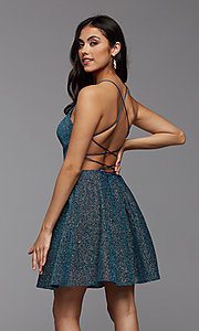 Image of strappy open-back short glitter homecoming dress. Style: PG-BHC-21-28 Detail Image 2