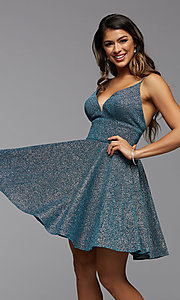 Image of a-line PromGirl short v-neck homecoming dress. Style: PG-BHC-21-30 Detail Image 1