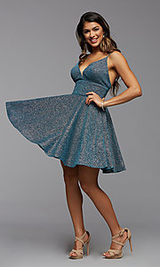 Image of a-line PromGirl short v-neck homecoming dress. Style: PG-BHC-21-30 Detail Image 2