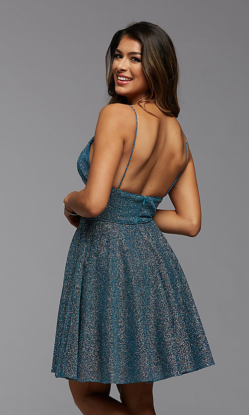 Image of a-line PromGirl short v-neck homecoming dress. Style: PG-BHC-21-30 Back Image