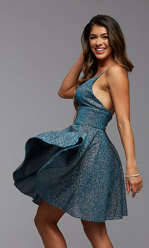 Image of a-line PromGirl short v-neck homecoming dress. Style: PG-BHC-21-30 Front Image