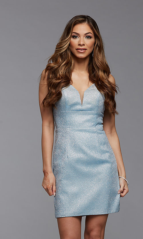 Image of deep v-neck tight short metallic homecoming dress. Style: PG-BHC-21-33 Detail Image 2