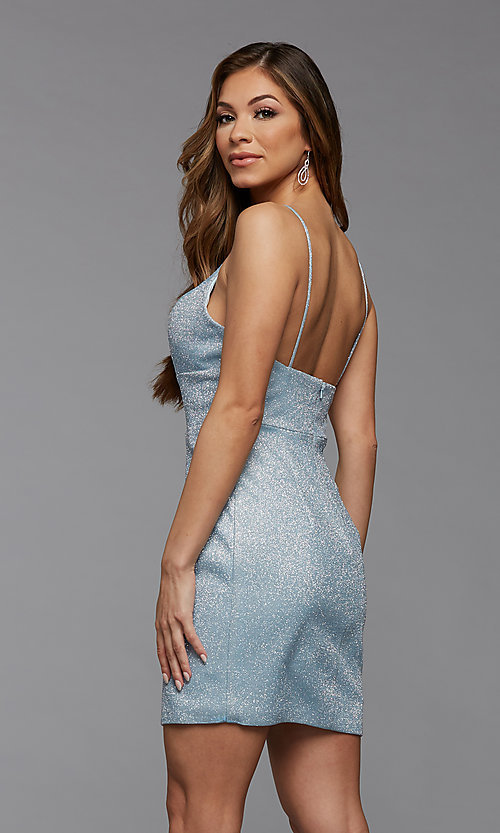 Image of deep v-neck tight short metallic homecoming dress. Style: PG-BHC-21-33 Detail Image 3
