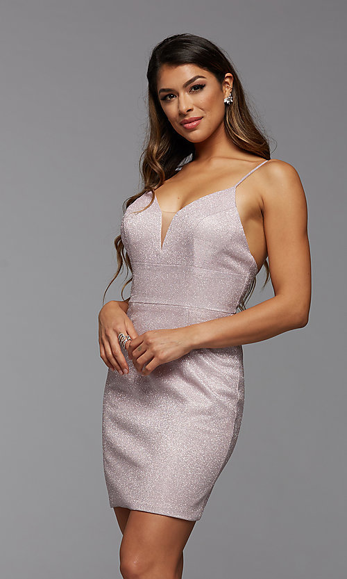 Image of deep v-neck tight short metallic homecoming dress. Style: PG-BHC-21-33 Front Image