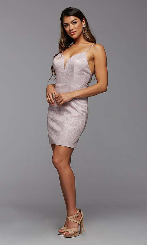 Image of deep v-neck tight short metallic homecoming dress. Style: PG-BHC-21-33 Detail Image 1