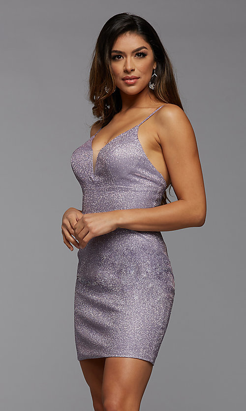 Image of deep v-neck tight short metallic homecoming dress. Style: PG-BHC-21-33 Detail Image 4
