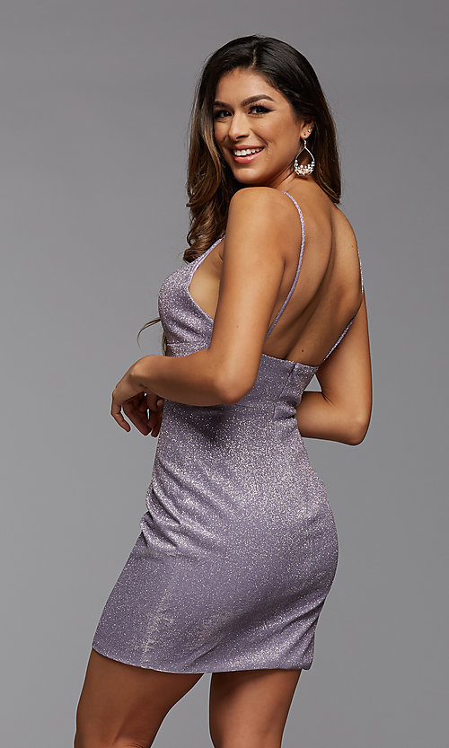 Image of deep v-neck tight short metallic homecoming dress. Style: PG-BHC-21-33 Detail Image 5