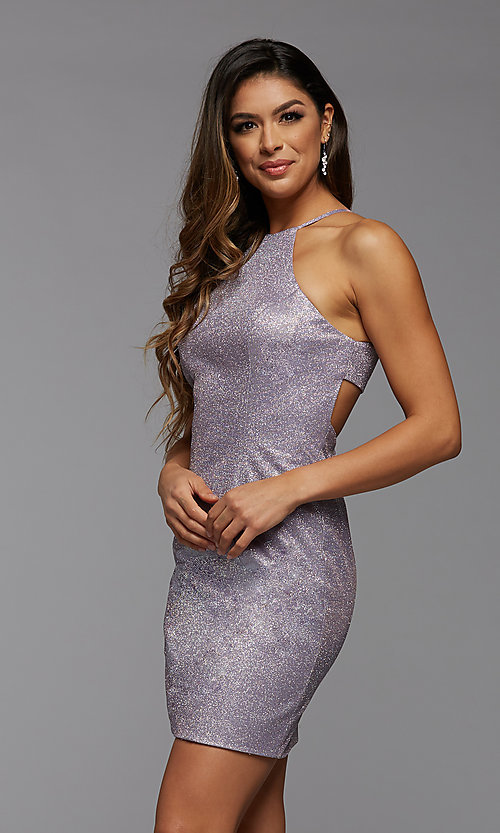 Image of tight short glitter homecoming party dress. Style: PG-BHC-21-35 Detail Image 2