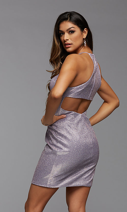 Image of tight short glitter homecoming party dress. Style: PG-BHC-21-35 Detail Image 3