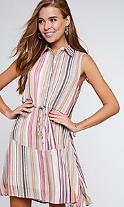 Image of button-up mauve striped short casual party dress. Style: FG-BNB-21-LLOLV292344 Front Image