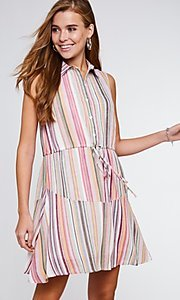 Image of button-up mauve striped short casual party dress. Style: FG-BNB-21-LLOLV292344 Detail Image 1