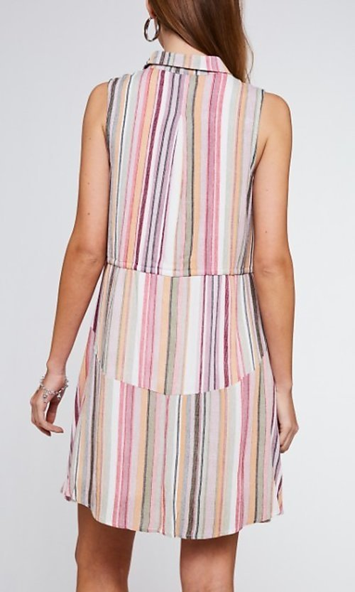 Image of button-up mauve striped short casual party dress. Style: FG-BNB-21-LLOLV292344 Back Image