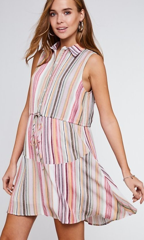 Image of button-up mauve striped short casual party dress. Style: FG-BNB-21-LLOLV292344 Detail Image 2