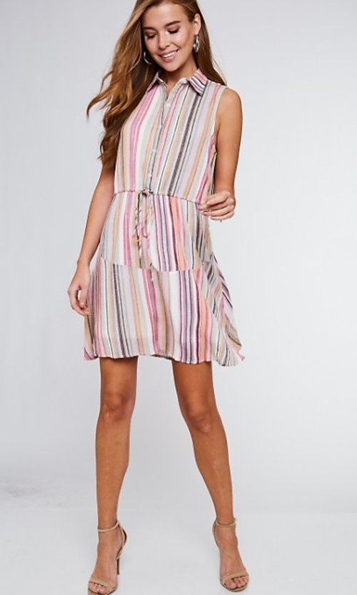 Image of button-up mauve striped short casual party dress. Style: FG-BNB-21-LLOLV292344 Detail Image 3