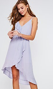 Image of high-low lilac purple wrap-style short party dress. Style: FG-BNB-21-LLOLV293069 Detail Image 2