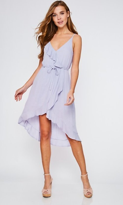 Image of high-low lilac purple wrap-style short party dress. Style: FG-BNB-21-LLOLV293069 Front Image