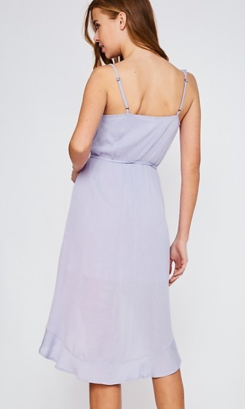 Image of high-low lilac purple wrap-style short party dress. Style: FG-BNB-21-LLOLV293069 Back Image