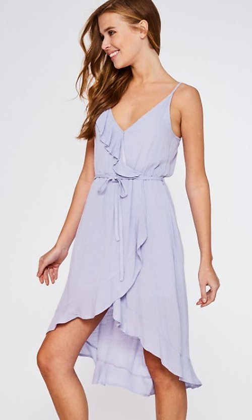 Image of high-low lilac purple wrap-style short party dress. Style: FG-BNB-21-LLOLV293069 Detail Image 1