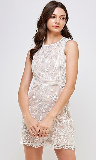 White Lace Short Sleeveless Fitted Party Dress