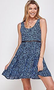 Image of navy blue floral short casual party dress. Style: FG-ECR-21-EDF18046NZ Front Image