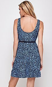 Image of navy blue floral short casual party dress. Style: FG-ECR-21-EDF18046NZ Back Image