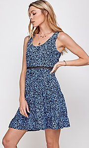 Image of navy blue floral short casual party dress. Style: FG-ECR-21-EDF18046NZ Detail Image 1