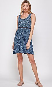 Image of navy blue floral short casual party dress. Style: FG-ECR-21-EDF18046NZ Detail Image 4