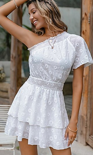 One-Shoulder White Floral Short Casual Party Dress