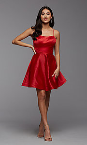 Image of simple corset-back short a-line homecoming dress. Style: PG-THC-21-49 Detail Image 1