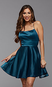 Image of simple corset-back short a-line homecoming dress. Style: PG-THC-21-49 Detail Image 2