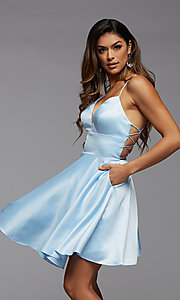Image of strappy-back short pastel homecoming party dress. Style: PG-THC-21-51 Front Image