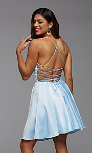 Image of strappy-back short pastel homecoming party dress. Style: PG-THC-21-51 Back Image
