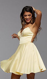 Image of strappy-back short pastel homecoming party dress. Style: PG-THC-21-51 Detail Image 1
