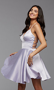 Image of strappy-back short pastel homecoming party dress. Style: PG-THC-21-51 Detail Image 4