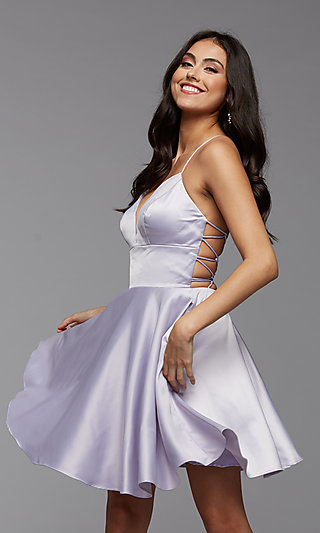 Strappy-Back Short Pastel Homecoming Party Dress