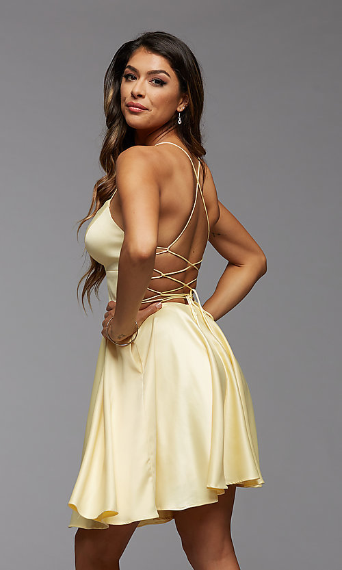 Image of strappy-back short pastel homecoming party dress. Style: PG-THC-21-51 Detail Image 3