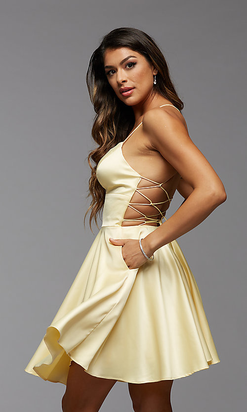 Image of strappy-back short pastel homecoming party dress. Style: PG-THC-21-51 Detail Image 2