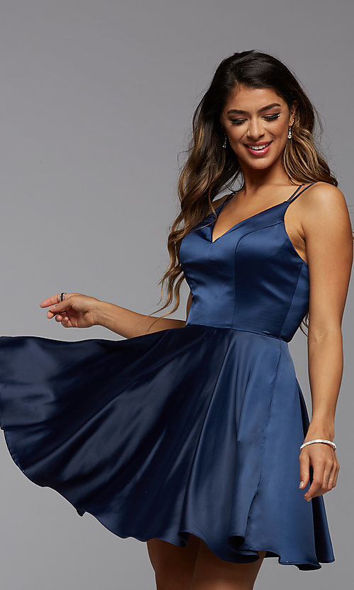Image of PromGirl homecoming short satin dress with pockets. Style: PG-THC-21-52 Detail Image 1