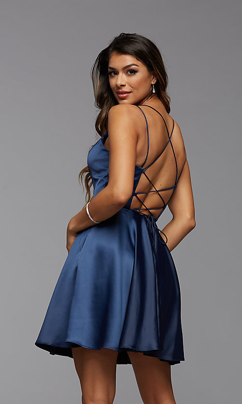 Image of PromGirl homecoming short satin dress with pockets. Style: PG-THC-21-52 Detail Image 2