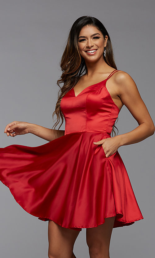 Image of PromGirl homecoming short satin dress with pockets. Style: PG-THC-21-52 Front Image
