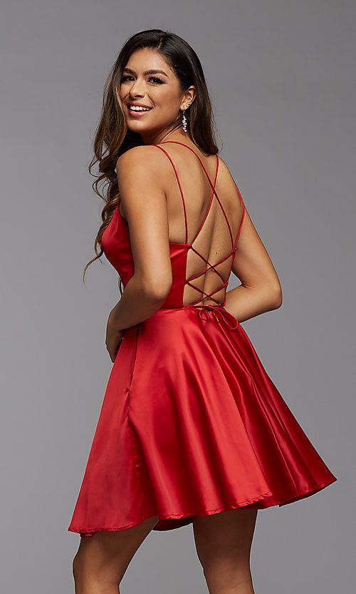 Image of PromGirl homecoming short satin dress with pockets. Style: PG-THC-21-52 Back Image