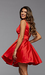 Image of short PromGirl homecoming dress with side cut outs. Style: PG-THC-21-53 Back Image