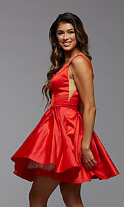 Image of short PromGirl homecoming dress with side cut outs. Style: PG-THC-21-53 Detail Image 1