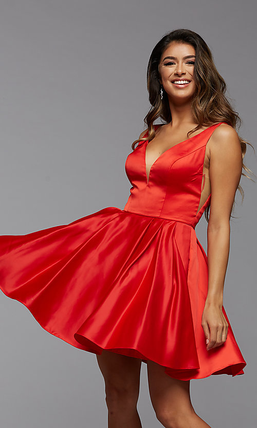 Image of short PromGirl homecoming dress with side cut outs. Style: PG-THC-21-53 Front Image
