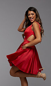 Image of short satin homecoming dress with side cut outs. Style: PG-THC-21-55 Detail Image 2