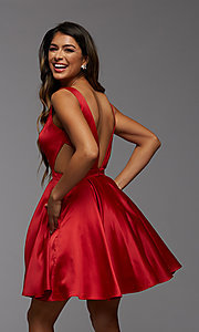Image of short satin homecoming dress with side cut outs. Style: PG-THC-21-55 Detail Image 3